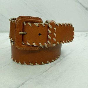 Lands' End Brown Vintage Wide Embroidered Belt